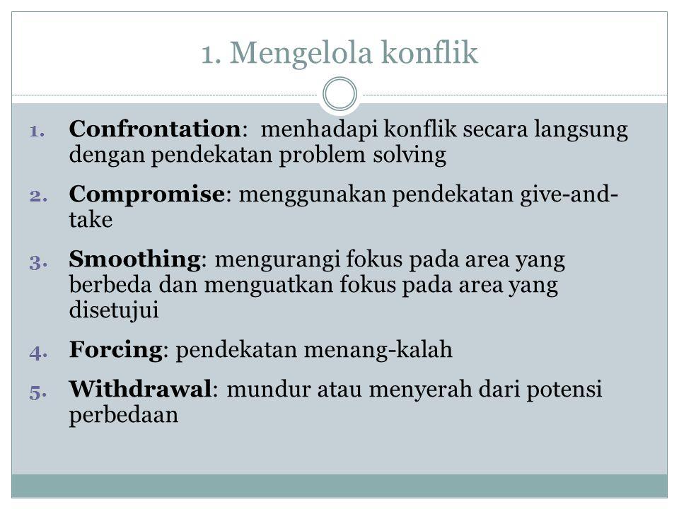 1. Mengelola konflik 1. Confrontation: menhadapi konflik secara langsung dengan pendekatan problem solving 2. Compromise: menggunakan pendekatan give-