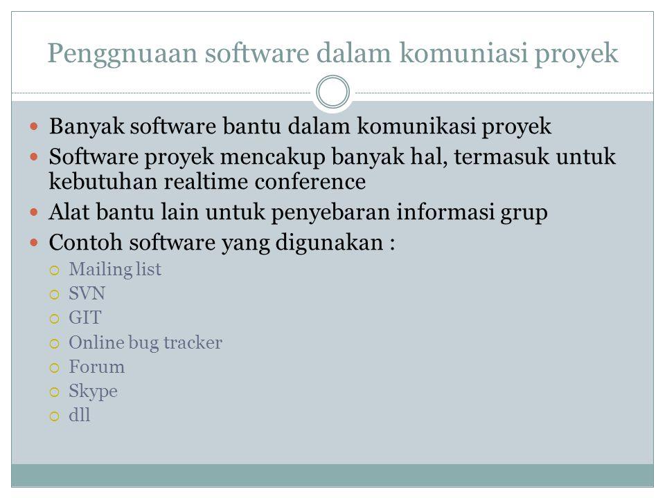 Penggnuaan software dalam komuniasi proyek Banyak software bantu dalam komunikasi proyek Software proyek mencakup banyak hal, termasuk untuk kebutuhan