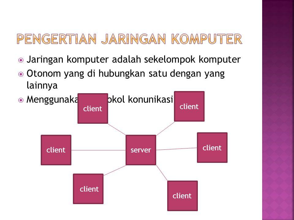  Jaringan komputer adalah sekelompok komputer  Otonom yang di hubungkan satu dengan yang lainnya  Menggunakan protokol konunikasi server client