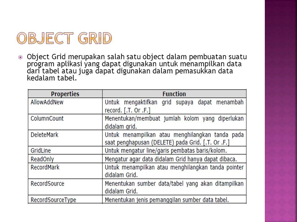  Object ListBox merupakan object yang fungsinya hampir sama dengan object Grid yaitu dapat menampilkan data dari tabel atau menampilkan data yang kita atur sendiri pada properties RowSource dan RowSourceType.