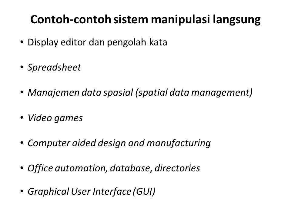 Contoh-contoh sistem manipulasi langsung Display editor dan pengolah kata Spreadsheet Manajemen data spasial (spatial data management) Video games Com