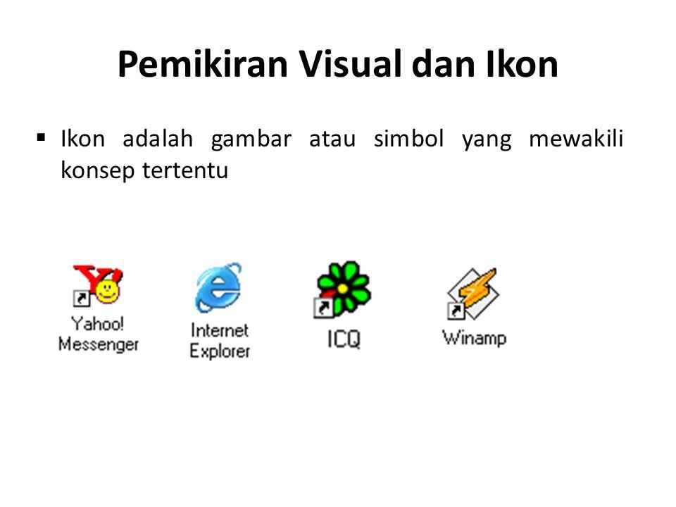 Pedoman perancangan ikon : Representasikan objek atau aksi dengan cara yang dikenal Batasi jumlah ikon yang berbeda Buat ikon jelas terlihat dari latar belakangnya Pertimbangkan ikon tiga dimensi; bagus dilihat tapi dapat mengalihkan perhatian Pastikan setiap ikon yang dipilih terlihat jelas ketika dikelilingi oleh ikon yang tidak terpilih Buat setiap ikon berbeda dari yang lainnya