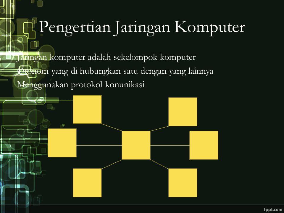 Pengertian Jaringan Komputer Jaringan komputer adalah sekelompok komputer Otonom yang di hubungkan satu dengan yang lainnya Menggunakan protokol konunikasi