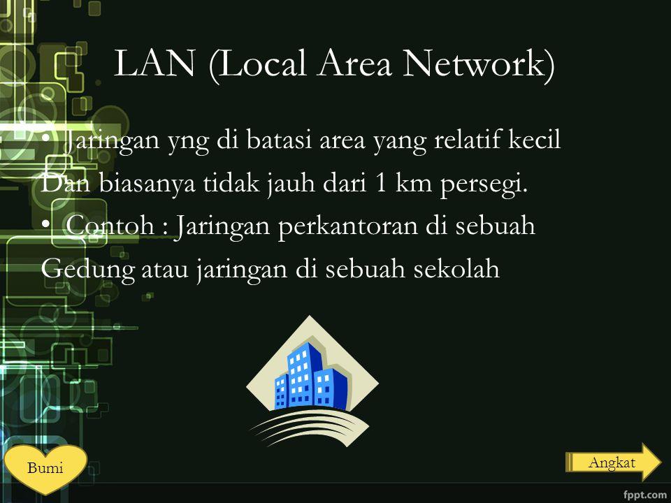 LAN (Local Area Network) Jaringan yng di batasi area yang relatif kecil Dan biasanya tidak jauh dari 1 km persegi. Contoh : Jaringan perkantoran di se