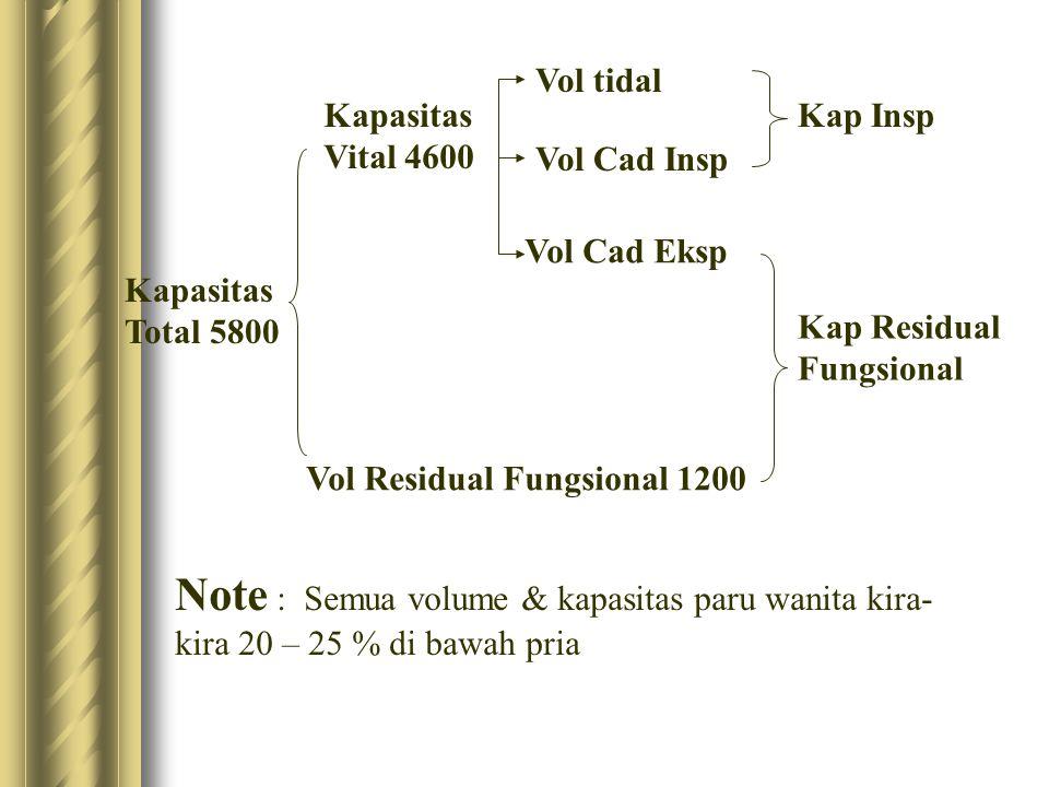 Kapasitas Total 5800 Kapasitas Vital 4600 Vol tidal Vol Cad Insp Vol Cad Eksp Vol Residual Fungsional 1200 Kap Insp Kap Residual Fungsional Note : Sem