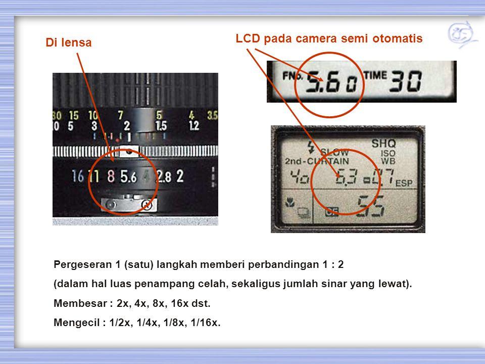 Di lensa LCD pada camera semi otomatis Pergeseran 1 (satu) langkah memberi perbandingan 1 : 2 (dalam hal luas penampang celah, sekaligus jumlah sinar