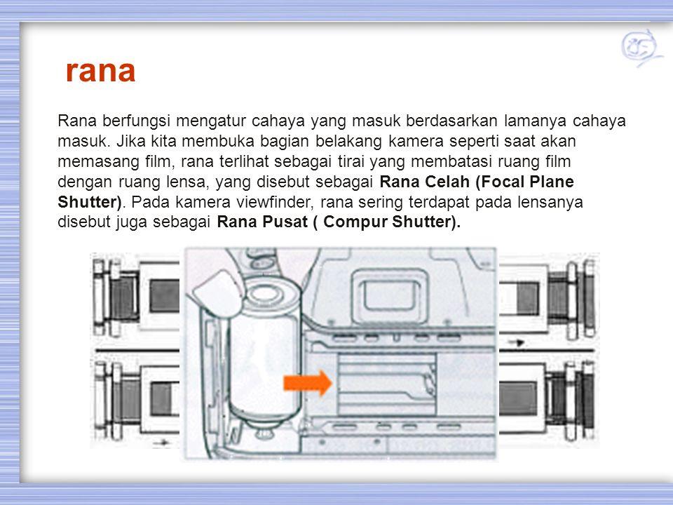 rana Rana berfungsi mengatur cahaya yang masuk berdasarkan lamanya cahaya masuk. Jika kita membuka bagian belakang kamera seperti saat akan memasang f