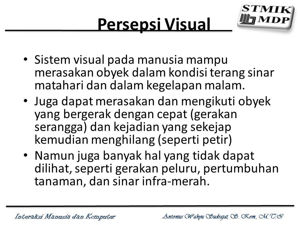 Interaksi Manusia dan Komputer Antonius Wahyu Sudrajat, S. Kom., M.T.I Persepsi Visual Sistem visual pada manusia mampu merasakan obyek dalam kondisi