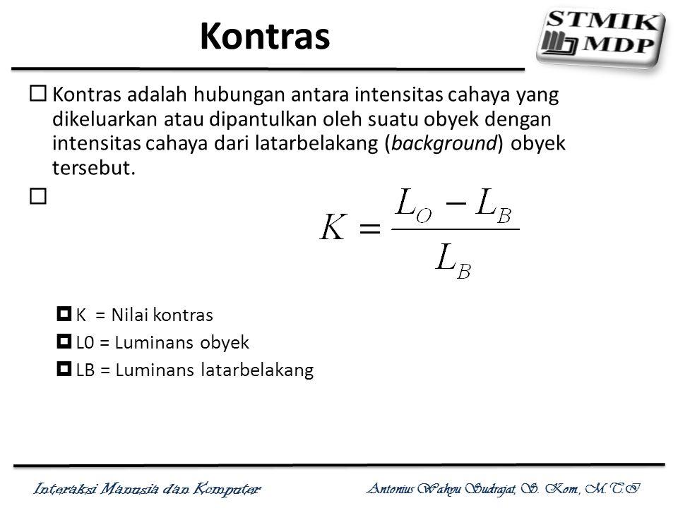 Interaksi Manusia dan Komputer Antonius Wahyu Sudrajat, S. Kom., M.T.I Kontras  Kontras adalah hubungan antara intensitas cahaya yang dikeluarkan ata