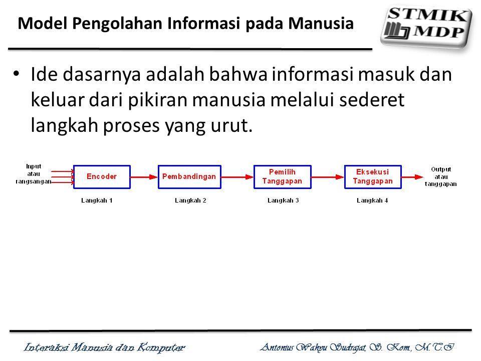 Interaksi Manusia dan Komputer Antonius Wahyu Sudrajat, S. Kom., M.T.I Model Pengolahan Informasi pada Manusia Ide dasarnya adalah bahwa informasi mas