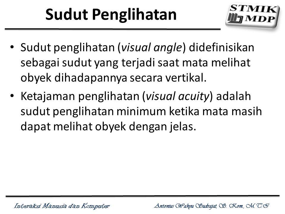 Interaksi Manusia dan Komputer Antonius Wahyu Sudrajat, S. Kom., M.T.I Sudut Penglihatan Sudut penglihatan (visual angle) didefinisikan sebagai sudut