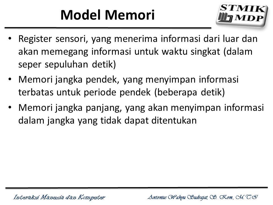 Interaksi Manusia dan Komputer Antonius Wahyu Sudrajat, S. Kom., M.T.I Model Memori Register sensori, yang menerima informasi dari luar dan akan memeg