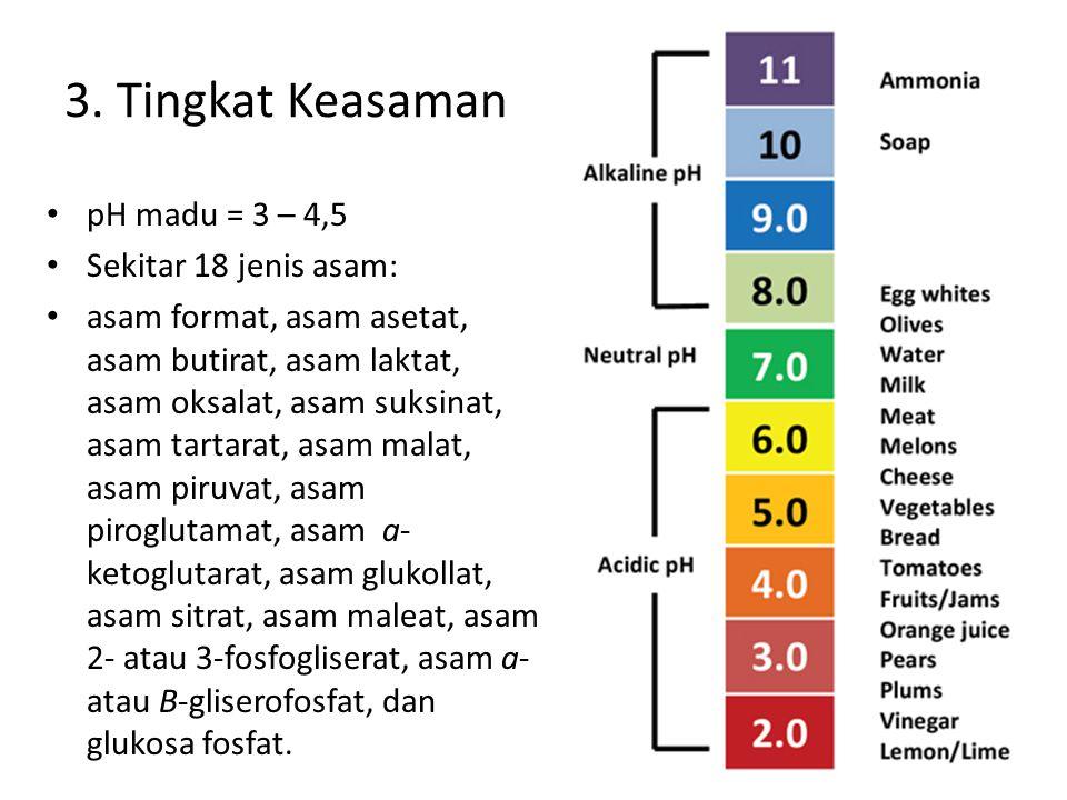 pH madu = 3 – 4,5 Sekitar 18 jenis asam: asam format, asam asetat, asam butirat, asam laktat, asam oksalat, asam suksinat, asam tartarat, asam malat, asam piruvat, asam piroglutamat, asam a- ketoglutarat, asam glukollat, asam sitrat, asam maleat, asam 2- atau 3-fosfogliserat, asam a- atau B-gliserofosfat, dan glukosa fosfat.