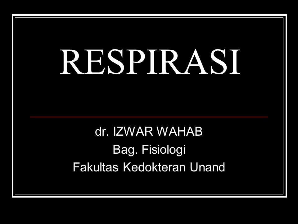 RESPIRASI dr. IZWAR WAHAB Bag. Fisiologi Fakultas Kedokteran Unand