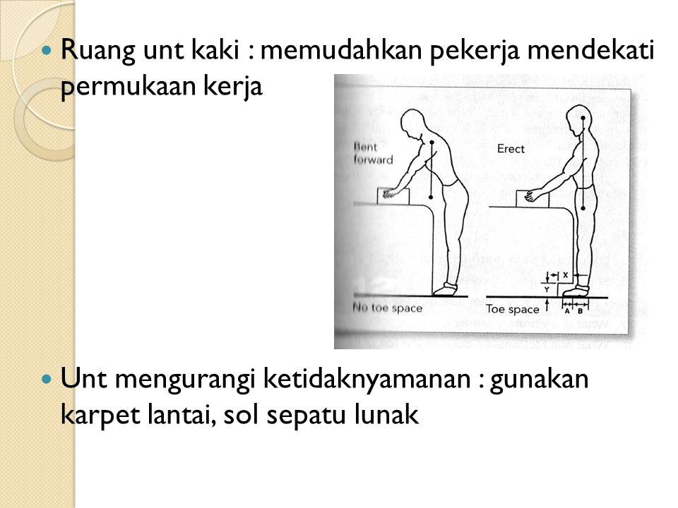 Ruang unt kaki : memudahkan pekerja mendekati permukaan kerja Unt mengurangi ketidaknyamanan : gunakan karpet lantai, sol sepatu lunak