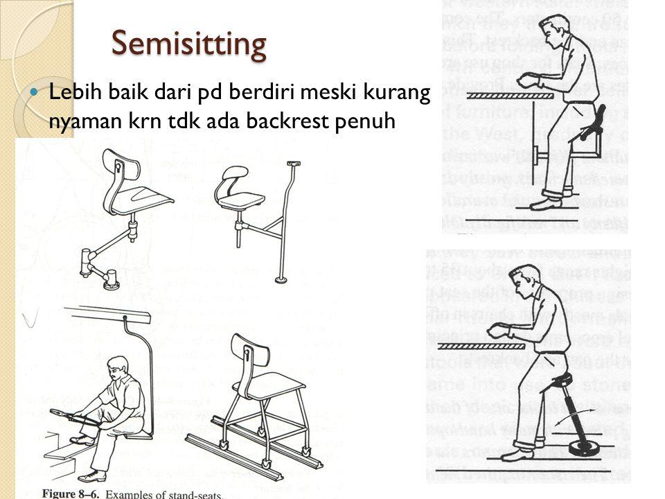 Semisitting Lebih baik dari pd berdiri meski kurang nyaman krn tdk ada backrest penuh