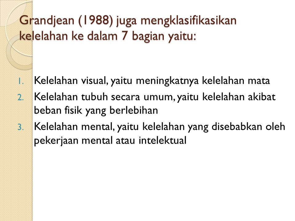 Grandjean (1988) juga mengklasifikasikan kelelahan ke dalam 7 bagian yaitu: 1.