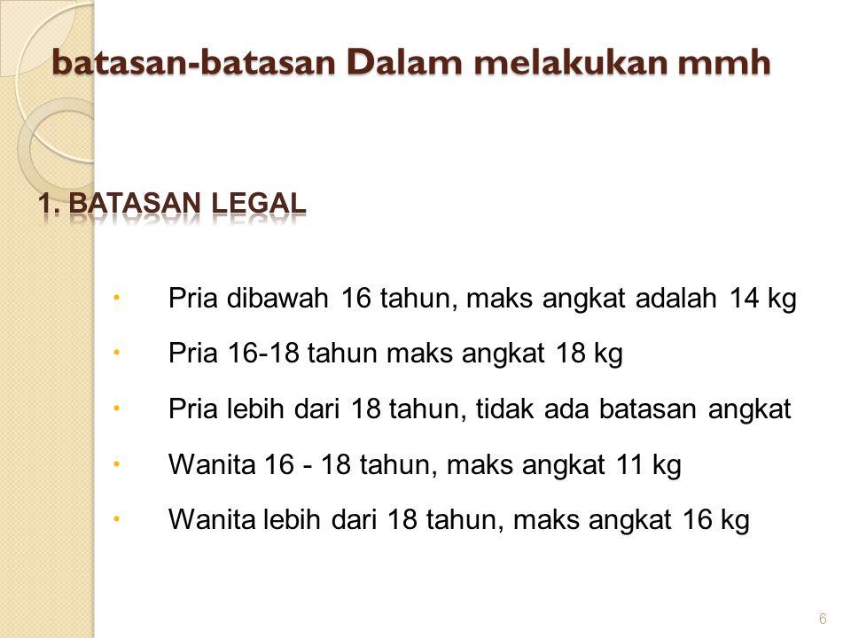 batasan-batasan Dalam melakukan mmh  Pria dibawah 16 tahun, maks angkat adalah 14 kg  Pria 16-18 tahun maks angkat 18 kg  Pria lebih dari 18 tahun, tidak ada batasan angkat  Wanita 16 - 18 tahun, maks angkat 11 kg  Wanita lebih dari 18 tahun, maks angkat 16 kg 6