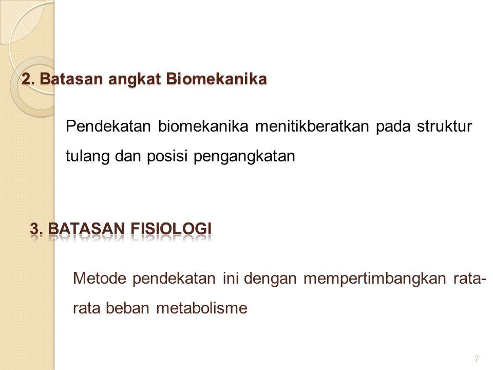 2. Batasan angkat Biomekanika Pendekatan biomekanika menitikberatkan pada struktur tulang dan posisi pengangkatan 7 Metode pendekatan ini dengan mempe