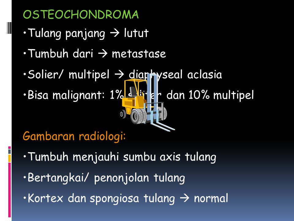 OSTEOCHONDROMA Tulang panjang  lutut Tumbuh dari  metastase Solier/ multipel  diaphyseal aclasia Bisa malignant: 1% soliter dan 10% multipel Gambaran radiologi: Tumbuh menjauhi sumbu axis tulang Bertangkai/ penonjolan tulang Kortex dan spongiosa tulang  normal