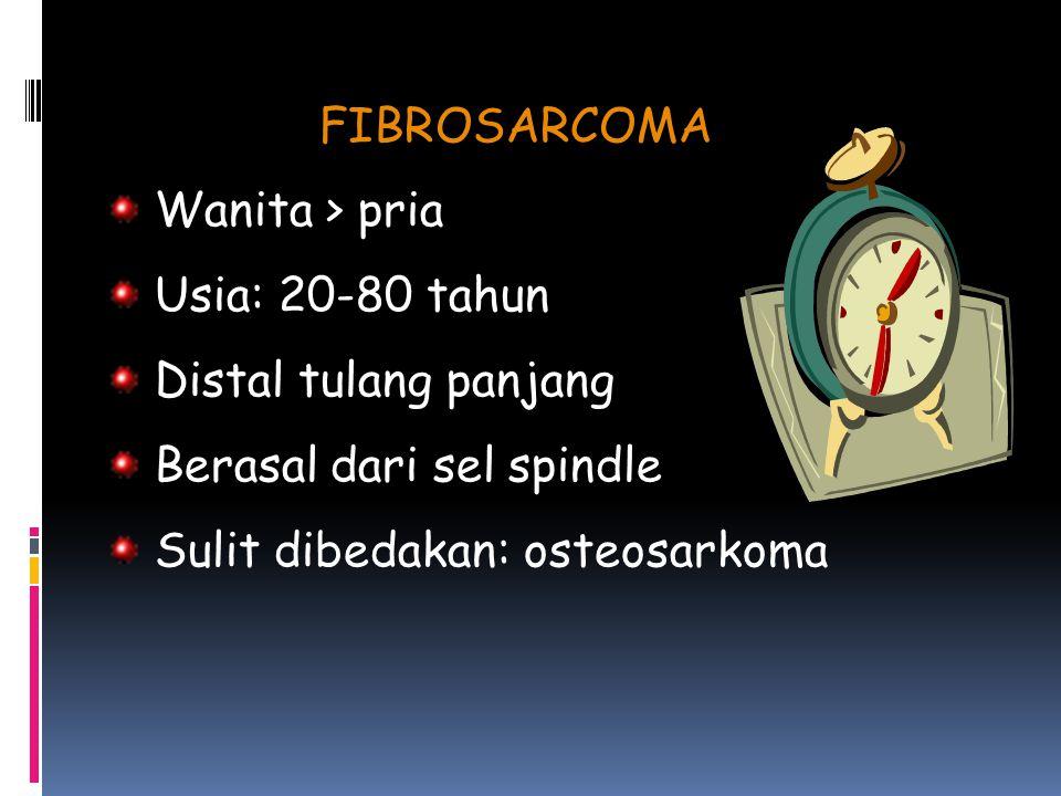 FIBROSARCOMA Wanita > pria Usia: 20-80 tahun Distal tulang panjang Berasal dari sel spindle Sulit dibedakan: osteosarkoma