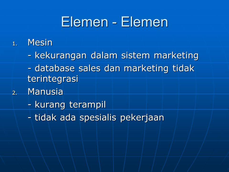Elemen - Elemen 1. Mesin - kekurangan dalam sistem marketing - database sales dan marketing tidak terintegrasi 2. Manusia - kurang terampil - tidak ad