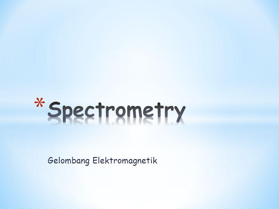  Spektroskopi adalah ilmu yg mempelajari interaksi antara radiasi cahaya (radiasi elektromagnetik) dan materi  Spektrometri adalah Ilmu yang mempelajari teknik pengukuran interaksi materi dengan energi  Spektrofotometry Ilmu yang mempelajari teknik pengukuran interaksi materi dengan energi/sinar/komponen sinar matahari  Spektrometer alat atau instrumen yang digunakan untuk mengukur