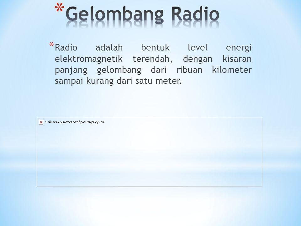 * Radio adalah bentuk level energi elektromagnetik terendah, dengan kisaran panjang gelombang dari ribuan kilometer sampai kurang dari satu meter.