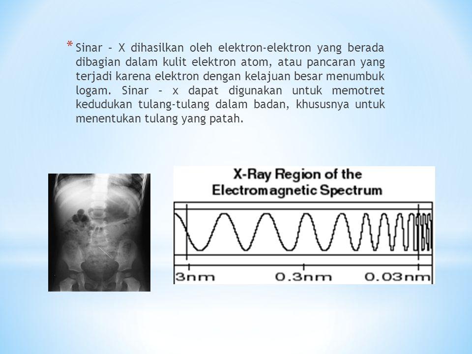 * Sinar – X dihasilkan oleh elektron-elektron yang berada dibagian dalam kulit elektron atom, atau pancaran yang terjadi karena elektron dengan kelajuan besar menumbuk logam.