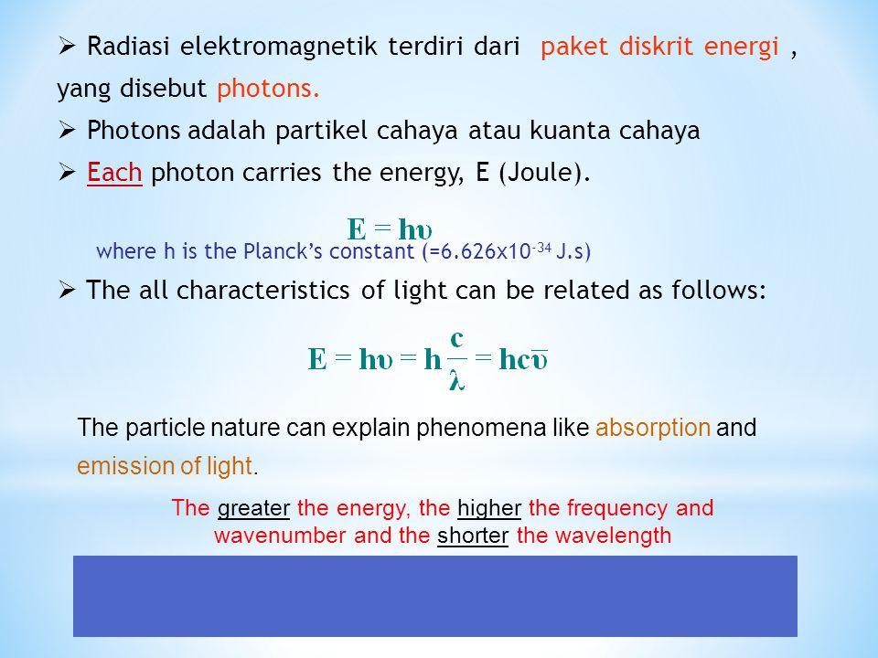  Radiasi elektromagnetik terdiri dari paket diskrit energi, yang disebut photons.  Photons adalah partikel cahaya atau kuanta cahaya  Each photon c