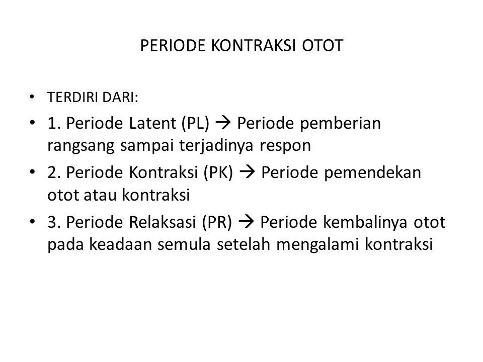 PERIODE KONTRAKSI OTOT TERDIRI DARI: 1. Periode Latent (PL)  Periode pemberian rangsang sampai terjadinya respon 2. Periode Kontraksi (PK)  Periode