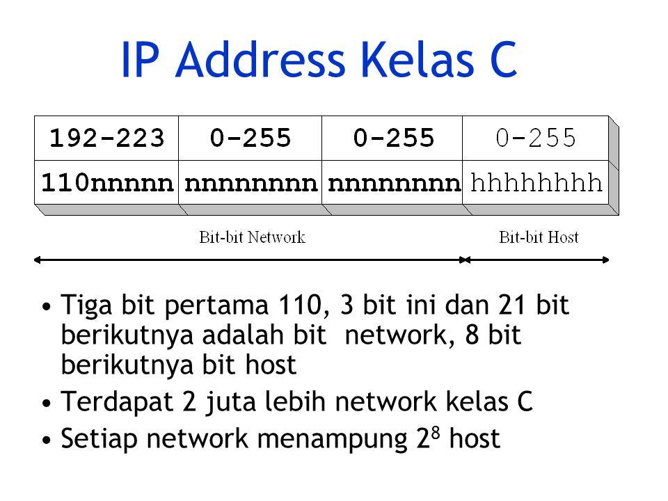 IP Address Kelas C Tiga bit pertama 110, 3 bit ini dan 21 bit berikutnya adalah bit network, 8 bit berikutnya bit host Terdapat 2 juta lebih network kelas C Setiap network menampung 2 8 host