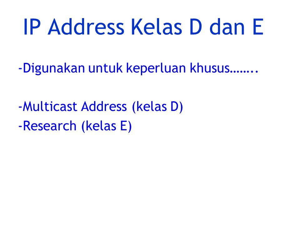 IP Address Kelas D dan E -Digunakan untuk keperluan khusus……..