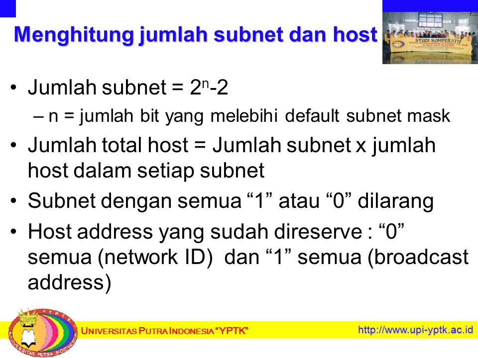 U NIVERSITAS P UTRA I NDONESIA YPTK http://www.upi-yptk.ac.id Menghitung jumlah subnet dan host Jumlah subnet = 2 n -2 – –n = jumlah bit yang melebihi default subnet mask Jumlah total host = Jumlah subnet x jumlah host dalam setiap subnet Subnet dengan semua 1 atau 0 dilarang Host address yang sudah direserve : 0 semua (network ID) dan 1 semua (broadcast address)