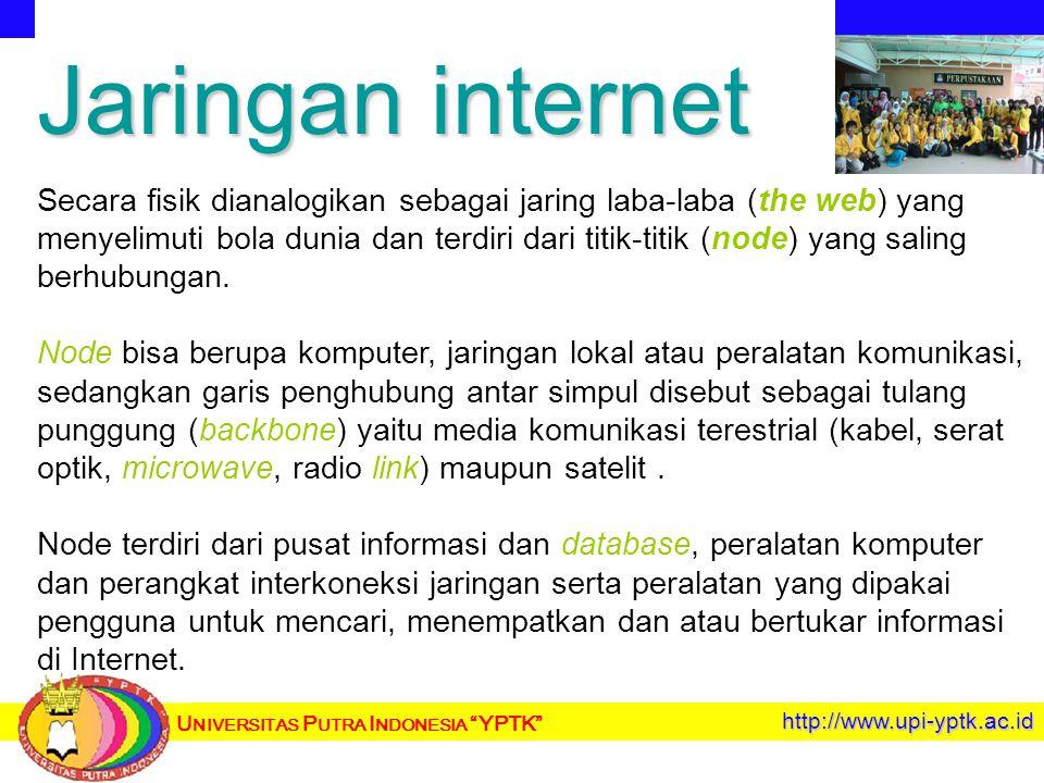 U NIVERSITAS P UTRA I NDONESIA YPTK http://www.upi-yptk.ac.id Jaringan internet Secara fisik dianalogikan sebagai jaring laba-laba (the web) yang menyelimuti bola dunia dan terdiri dari titik-titik (node) yang saling berhubungan.