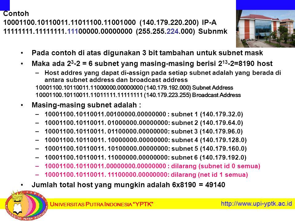 U NIVERSITAS P UTRA I NDONESIA YPTK http://www.upi-yptk.ac.id Pada contoh di atas digunakan 3 bit tambahan untuk subnet mask Maka ada 2 3 -2 = 6 subnet yang masing-masing berisi 2 13 -2=8190 host – –Host addres yang dapat di-assign pada setiap subnet adalah yang berada di antara subnet address dan broadcast address 10001100.10110011.11000000.00000000 (140.179.192.000) Subnet Address 10001100.10110011.11011111.11111111 (140.179.223.255) Broadcast Address Masing-masing subnet adalah : – –10001100.10110011.00100000.00000000 : subnet 1 (140.179.32.0) – –10001100.10110011.