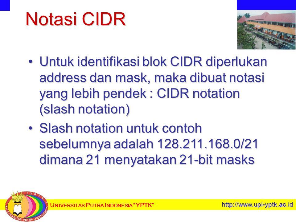 U NIVERSITAS P UTRA I NDONESIA YPTK http://www.upi-yptk.ac.id Notasi CIDR Untuk identifikasi blok CIDR diperlukan address dan mask, maka dibuat notasi yang lebih pendek : CIDR notation (slash notation)Untuk identifikasi blok CIDR diperlukan address dan mask, maka dibuat notasi yang lebih pendek : CIDR notation (slash notation) Slash notation untuk contoh sebelumnya adalah 128.211.168.0/21 dimana 21 menyatakan 21-bit masksSlash notation untuk contoh sebelumnya adalah 128.211.168.0/21 dimana 21 menyatakan 21-bit masks