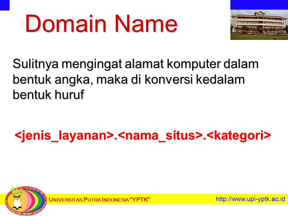 U NIVERSITAS P UTRA I NDONESIA YPTK http://www.upi-yptk.ac.id Domain Name Sulitnya mengingat alamat komputer dalam bentuk angka, maka di konversi kedalam bentuk huruf <jenis_layanan>.<nama_situs>.<kategori>