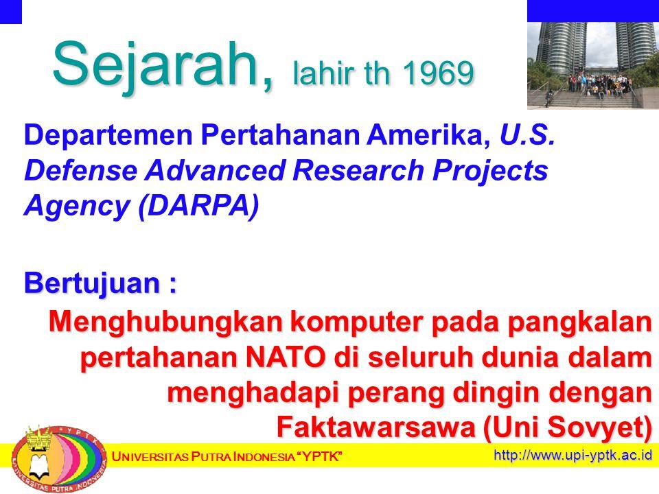 U NIVERSITAS P UTRA I NDONESIA YPTK http://www.upi-yptk.ac.id Sejarah, lahir th 1969 Departemen Pertahanan Amerika, U.S.
