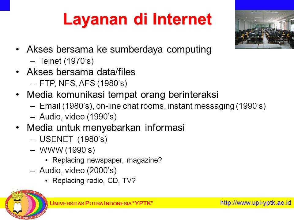 U NIVERSITAS P UTRA I NDONESIA YPTK http://www.upi-yptk.ac.id Layanan di Internet Akses bersama ke sumberdaya computing – –Telnet (1970's) Akses bersama data/files – –FTP, NFS, AFS (1980's) Media komunikasi tempat orang berinteraksi – –Email (1980's), on-line chat rooms, instant messaging (1990's) – –Audio, video (1990's) Media untuk menyebarkan informasi – –USENET (1980's) – –WWW (1990's) Replacing newspaper, magazine.