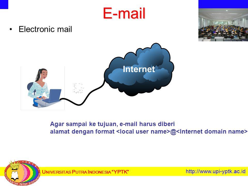 U NIVERSITAS P UTRA I NDONESIA YPTK http://www.upi-yptk.ac.id E-mail Electronic mail Agar sampai ke tujuan, e-mail harus diberi alamat dengan format @