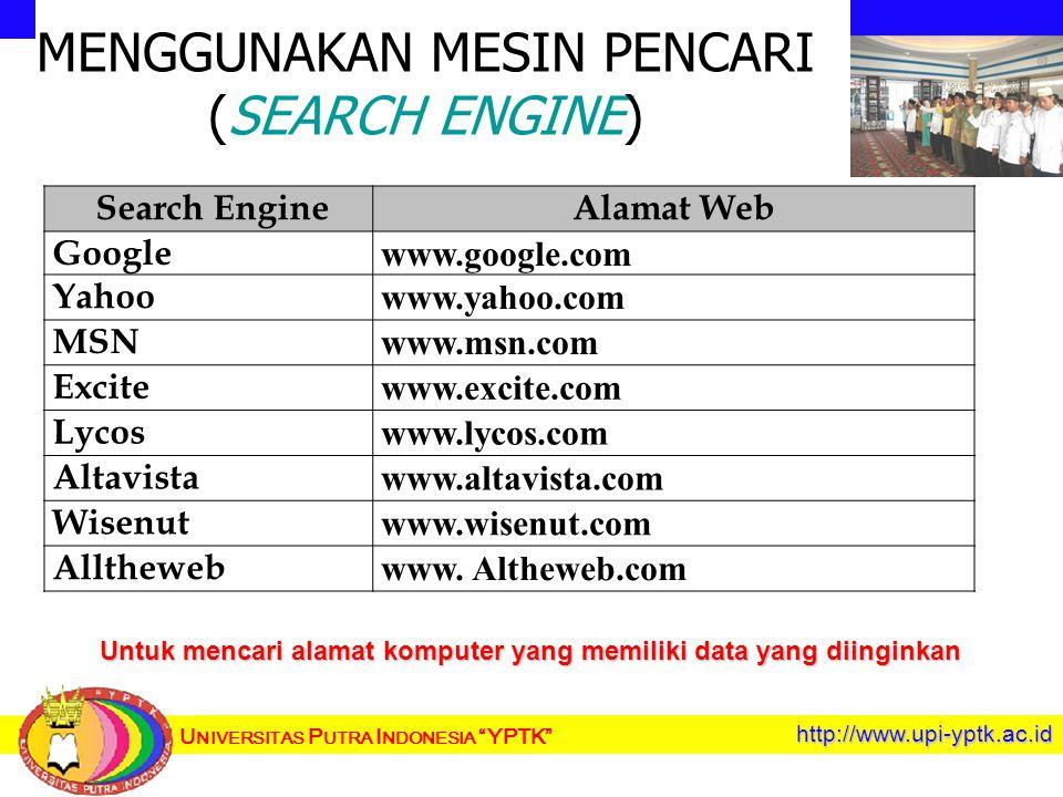 U NIVERSITAS P UTRA I NDONESIA YPTK http://www.upi-yptk.ac.id MENGGUNAKAN MESIN PENCARI (SEARCH ENGINE) Search EngineAlamat Web Google www.google.com Yahoo www.yahoo.com MSN www.msn.com Excite www.excite.com Lycos www.lycos.com Altavista www.altavista.com Wisenut www.wisenut.com Alltheweb www.