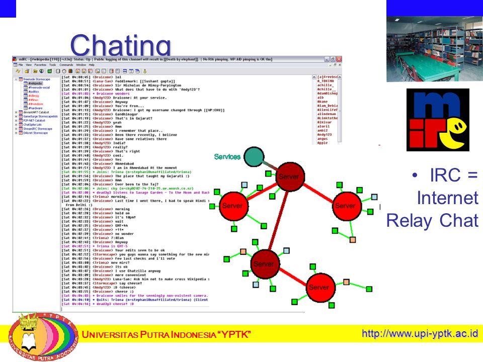 U NIVERSITAS P UTRA I NDONESIA YPTK http://www.upi-yptk.ac.id Chating IRC = Internet Relay Chat