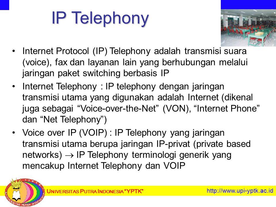 U NIVERSITAS P UTRA I NDONESIA YPTK http://www.upi-yptk.ac.id IP Telephony Internet Protocol (IP) Telephony adalah transmisi suara (voice), fax dan layanan lain yang berhubungan melalui jaringan paket switching berbasis IP Internet Telephony : IP telephony dengan jaringan transmisi utama yang digunakan adalah Internet (dikenal juga sebagai Voice-over-the-Net (VON), Internet Phone dan Net Telephony ) Voice over IP (VOIP) : IP Telephony yang jaringan transmisi utama berupa jaringan IP-privat (private based networks)  IP Telephony terminologi generik yang mencakup Internet Telephony dan VOIP