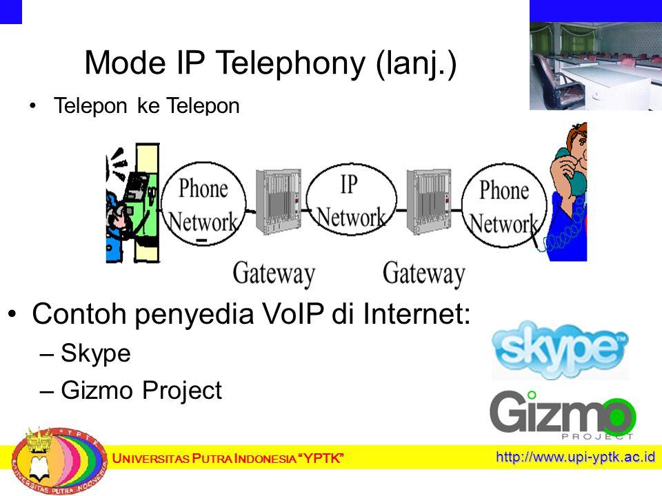 U NIVERSITAS P UTRA I NDONESIA YPTK http://www.upi-yptk.ac.id Mode IP Telephony (lanj.) Telepon ke Telepon Contoh penyedia VoIP di Internet: – –Skype – –Gizmo Project