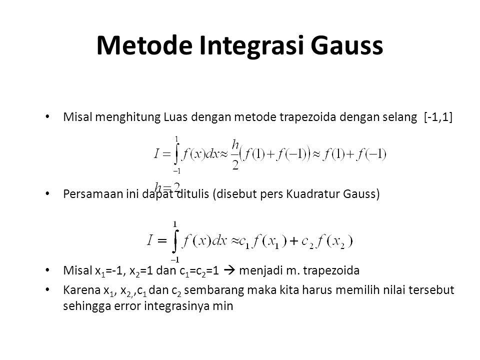 Metode Integrasi Gauss Misal menghitung Luas dengan metode trapezoida dengan selang [-1,1] Persamaan ini dapat ditulis (disebut pers Kuadratur Gauss) Misal x 1 =-1, x 2 =1 dan c 1 =c 2 =1  menjadi m.