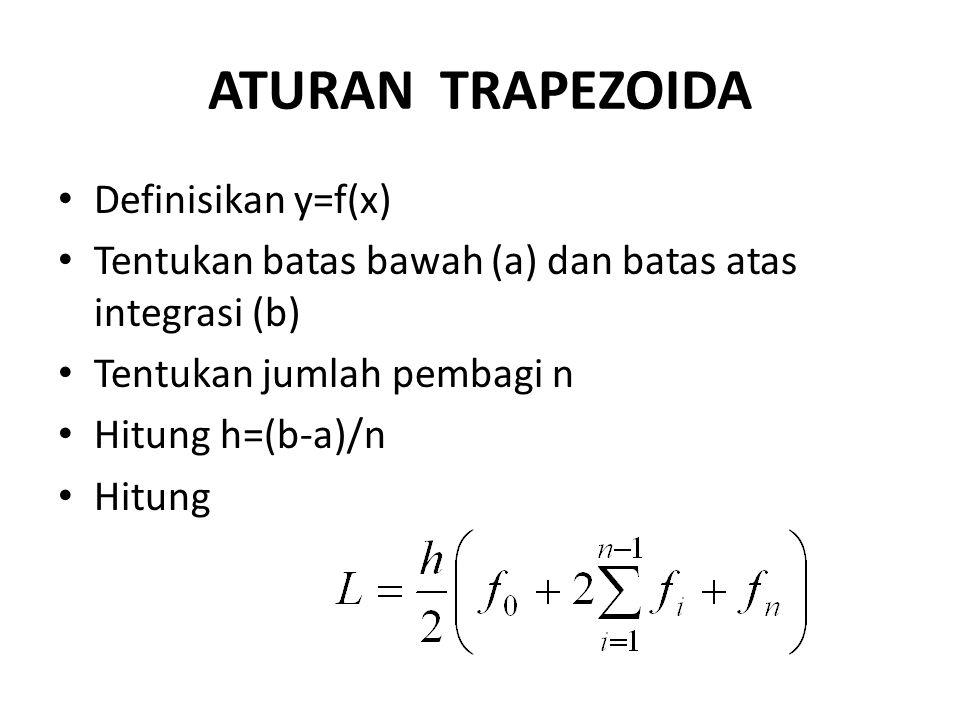 ATURAN TRAPEZOIDA Definisikan y=f(x) Tentukan batas bawah (a) dan batas atas integrasi (b) Tentukan jumlah pembagi n Hitung h=(b-a)/n Hitung