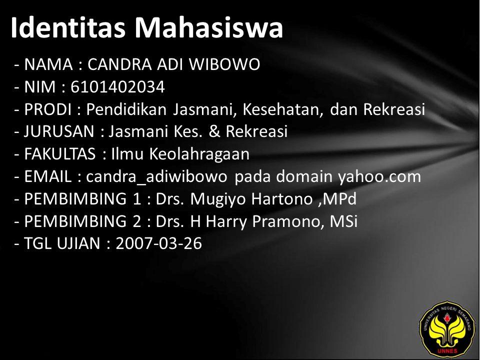 Identitas Mahasiswa - NAMA : CANDRA ADI WIBOWO - NIM : 6101402034 - PRODI : Pendidikan Jasmani, Kesehatan, dan Rekreasi - JURUSAN : Jasmani Kes. & Rek