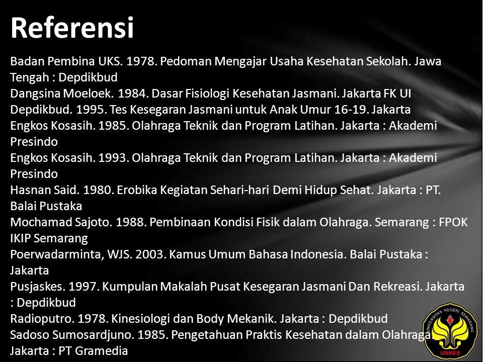 Referensi Badan Pembina UKS. 1978. Pedoman Mengajar Usaha Kesehatan Sekolah. Jawa Tengah : Depdikbud Dangsina Moeloek. 1984. Dasar Fisiologi Kesehatan