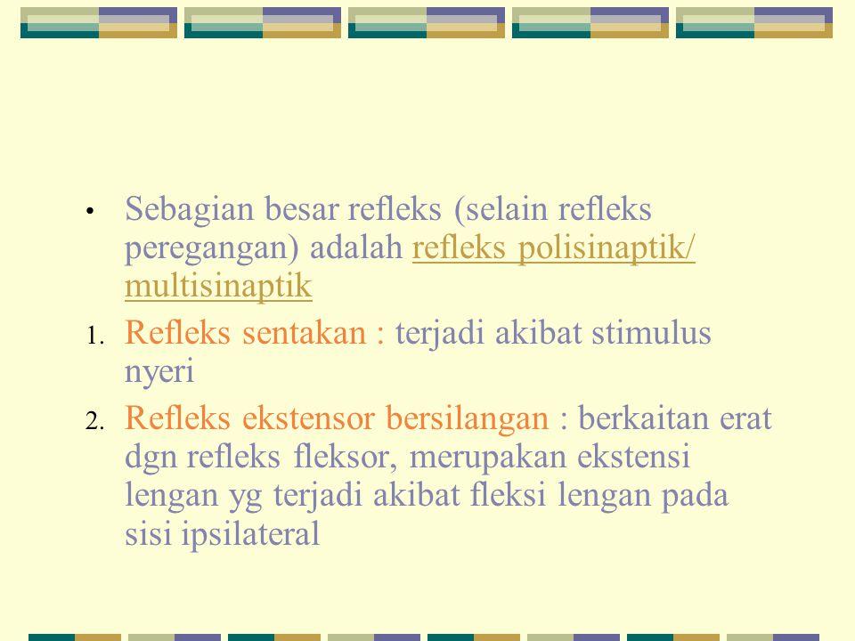 Sebagian besar refleks (selain refleks peregangan) adalah refleks polisinaptik/ multisinaptik 1. Refleks sentakan : terjadi akibat stimulus nyeri 2. R